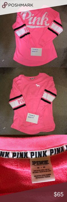 Victoria Secret pink crew medium Size medium. Fits oversized as all crews do. Hot pink color. Back says pink along with each sleeve also says pink. Very comfortable. I bought it second hand and I personally lightly used it, so it may have some piling which I will try to remove the best I can before shipping. I hate how I look in light / bright colors so it needs a new home! Would trade for a different crew in a darker color.  ⚡️I DO TRADE FOR MY ISO ITEMS⚡️ PINK Victoria's Secret Tops…