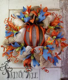 Autumn Wreath with Wood Pumpkin. See the Trendy Tree Blog for video, instructions and more images. #TrendyTree