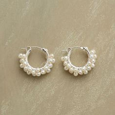 SILVER FROTH OF PEARLS EARRINGS: View 1