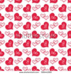 seamless abstract pattern with red hearts in retro style, white background,