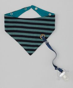 Bandanna bib with built in binky holder.