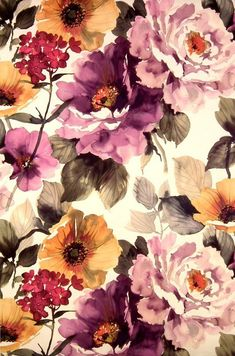 Grandma is back - floral design, large flowers, floral interiors Grandma had it figured out all those years ago. Go floral. Gorgeous floral inspired interiors that are grandma-worthy. Flower Wallpaper, Pattern Wallpaper, Wallpaper Backgrounds, Fabric Wallpaper, Floral Backgrounds, Floral Wallpaper Phone, Iphone Wallpapers, Autumn Iphone Wallpaper, Velvet Wallpaper