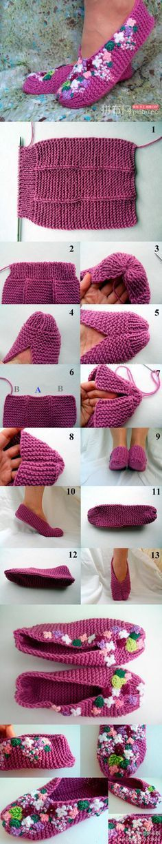 DIY Slippers Pattern looks like my first knitting project I made when I was about ten! Easy Knitting, Loom Knitting, Knitting Socks, Knitting Patterns, Knitting Needles, Crochet Simple, Knit Or Crochet, Crochet Crafts, Socks