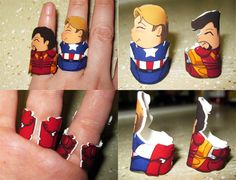 Captain America and Iron Man rings by *otterling on deviantART