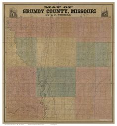 """Grundy County Missouri 1890 - Wall Map with Landowner Names - Reprint. This Missouri county wall map shows all the old roads, landowner and place names. Great for genealogists and history lovers. The reprint is made from the original on file at the Library of Congress. We offer this map reprint in different sizes (original is 48""""x 52""""). ***** Names will not be legible at the smaller sizes, but the map still makes an attractive wall display. Note the size of the original before you order..."""