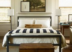 Betsy Brown- Room and Board's steel Parsons beds + Madeline Weinrib cotton rugs