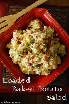 This loaded baked potato salad recipe is the best! Tastes just like your favorite baked potato with sour cream cheese bacon and green onions