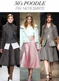 Circle skirt statement ensemble, sequins, long riding style coat/jacket, cropped tops (Trend Council)