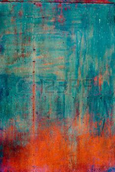 grunge: Rusty Colored Metal with cracked paint, grunge background, Blue and Orange Stock Photo