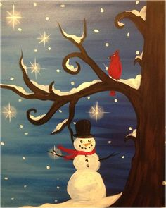Christmas Paintings On Canvas Easy Ideas In Home 26 is part of Christmas Art painting - Christmas Paintings On Canvas Easy Ideas In Home 26 Canvas Painting Projects, Christmas Paintings On Canvas, Easy Canvas Painting, Christmas Canvas, Winter Painting, Winter Art, Noel Christmas, Art Projects, Canvas Art