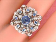ANTIQUE EDWARDIAN ART DECO .60ctw MINE DIAMOND 1.3ctw CEYLON SAPPHIRE RING 1930
