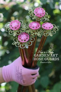 Garden hose or lawnmower cord dragging across your plants? Make homemade, repurposed hose guards for just a few dollars and save your p. Garden Whimsy, Garden Junk, Garden Hose, Balcony Garden, Diy Garden Projects, Garden Crafts, Garden Ideas, Garden Tips, Herbs Garden