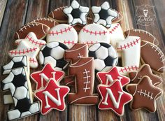 One Dozen (12) Sport Themed First Birthday Decorated Sugar Cookies