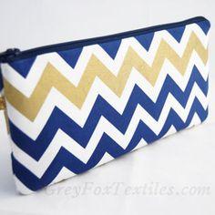 Indigo, navy blue and gold chevron clutch, wristlet, zipper pouch