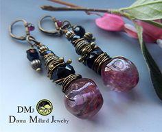 SRA Earrings HANDMADE Donna Millard pink cranberry by DonnaMillard