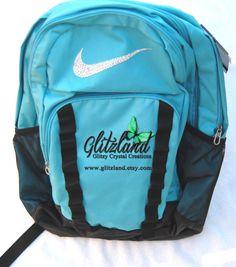 Ready To Ship!! Swarvoski Nike Nike Brasilia XL Backpack Blinged Made With w/ Swarovski Crystals