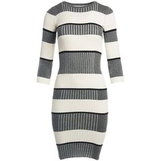 Sans Souci Striped midi sweater dress ($39) ❤ liked on Polyvore featuring dresses, 3/4 sleeve dress, white dress, white three quarter sleeve dress, 3/4 length sleeve dresses and sweater dresses