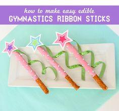 How to make Chocolate Pretzel Gymnastics Ribbon Stick Dessert for a Gymnastics party