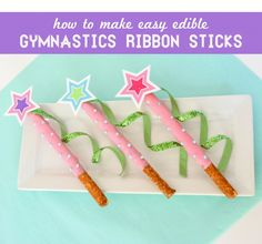 How to make Chocolate Pretzel Gymnastics Ribbon Stick Dessert for a Gymnastics party