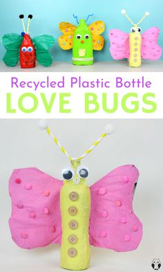 Fun and easy kids activity for Valentine's Day. We made these super cute love bugs from recycles plastic bottles. Recycled crafts are the perfect way to use up all that recycling whist teaching your kids the value of recycling. #recycledkidscrafts #emmaowl #plasticbottlecrafts #easykidsvalentinesdayideas #valentinesdaycraftsforkids #lovebugs #valentinesdaylovebugs #easyrecycledcraftideas #kidsactivities #valentinesdayideasforkids Recycled Crafts Kids, Recycled Art Projects, Valentine's Day Crafts For Kids, Craft Projects For Kids, Kid Crafts, Preschool Crafts, Diy For Kids, Art Activities For Toddlers, Sensory Activities