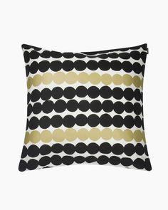 Marimekko - Räsymatto Anniversary Cushion Cover and Insert cm - Black/White/Gold Large Throw Pillows, Large Throws, Black White Gold, White Rug, Marimekko, Cushion Inserts, Cushion Covers, Photoshop, Modern Shop