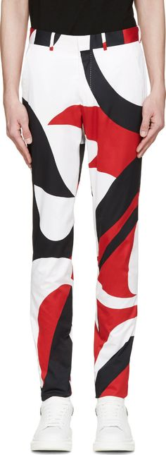 Alexander Mcqueen: White Abstract Slim Trousers