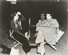 Judy Garland and Katharine Hepburn, on the set of 'Undercurrent'