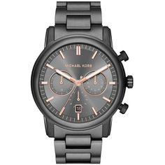Michael Kors 'Pennant' Chronograph Bracelet Watch, 43mm (2,475 MXN) ❤ liked on Polyvore featuring jewelry, watches, gunmetal, michael michael kors, stainless steel wrist watch, stainless steel watches, chrono watches and stainless steel bracelet