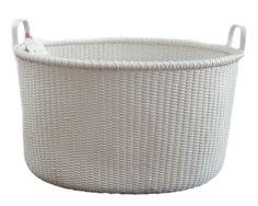 White Rattan Laundry Basket