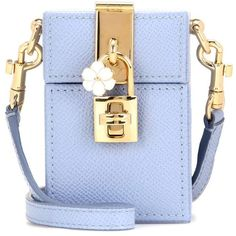 Dolce & Gabbana Dolce Box Mini Leather Shoulder Bag ($840) ❤ liked on Polyvore featuring bags, handbags, shoulder bags, blue, mini shoulder bag, blue shoulder bag, leather shoulder bag, mini purse and leather purses