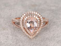 Morganite Engagement ring rose gold,Double halo Diamond wedding band,14k,6x8mm Pear shaped,Gemstone Promise Bridal Ring,Split shank,Fine