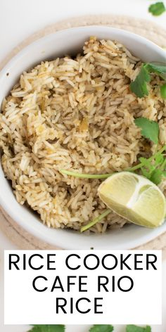 This recipe for Cafe Rio Rice features fluffy white rice with a delicious cilantro lime flavor. It comes together in no time with the help of your rice cooker! Cafe Rio Rice, Rice Cooker