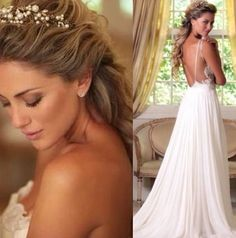 love this Open back wedding dress love her hair as well