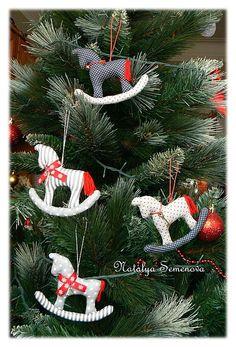 Купить Лошадки & Олени, игрушки на елку, горошки и полоски - лошадка, лошадка-качалка, лошади