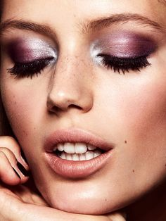 Model Esther Heesch shines with shimmering pink eyeshadow for ELLE Magazine Sweden December 2016 issue