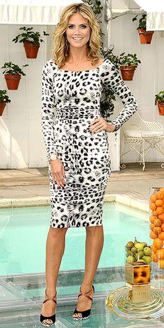 black and white leopard print. Heidi Klum.