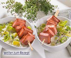 Rezept: Lauch-Kartoffeltopf mit gebratenem Leberkäse