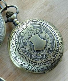 Engravable Emblem Mechanical Pocket Watch with Chain Groomsmen Gift Ships from Canada