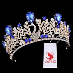 Baroque Queen Crown Tiara Chic Sapphire Teardrop Rhinestone Half Hair Cute