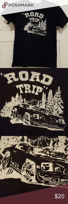 Chip & Pepper tee shirt Black tee shirt . With a Road  Trip logo and and scene . Fun little tee shirt by Chip & Pepper . Wear with white , black or faded jeans . Cute with shorts . Chip & Pepper Tops Tees - Short Sleeve