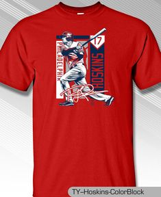 Philadelphia Phillies MLBPA RHYS HOSKINS  17 Color Block Youth Boys T Shirt  Red  MLBPA bfa941f9b