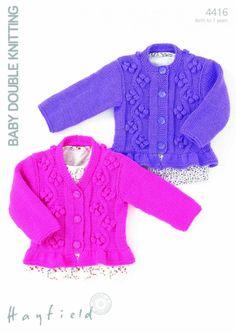 Hayfield Baby Cardigans Knitting Pattern 4416  DK | Knitting | Patterns | Minerva Crafts