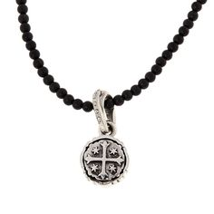 "King Baby Jewelry King Baby Sterling Silver Shipwreck Cross Black Onyx Beaded 24"" Necklace - Metallic"