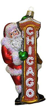 Chicago Christmas Ornament  Santa Claus with Chicago Sign ** You can find more details by visiting the image link.