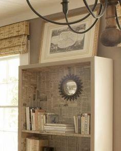 decoupaged bookshelves by Haskell Harris Creative