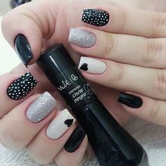 New Collections of Best Valentine's Day Nail Art Design Heart shape always plays an important role in nail art designs. When you have a nail art ideas Nail Art Designs, Black Nail Designs, Nails Design, Red Nails, Hair And Nails, Polka Dot Nails, Polka Dots, Heart Nails, Stylish Nails