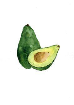 Avocado study number three original watercolor door TheJoyofColor