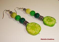 Very long dangle earrings green ethnic by MahelieCreations on Etsy, $8.00