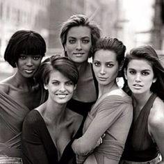 Top 90s super models of haute couture - Naomi Tatjana, Linda, Christy & Cindy pinned by Keva xo.
