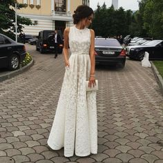 Gorgeous White Sleeveless 2016 Lace Floor Length prom dresses